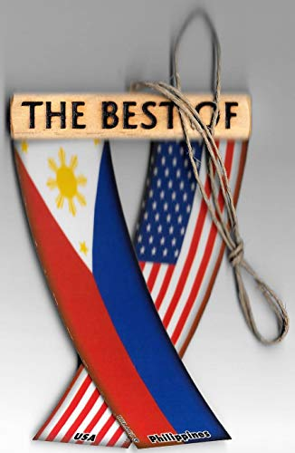 PHILIPPINES AND USA FILIPINO AMERICAN ASIAN PACIFIC ISLANDER REARVIEW MIRROR MINI BANNER HANGING FLAGS FOR THE CAR UNITY FLAGZ™..