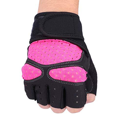 LFHH Guantes de gimnasio de levantamiento de pesas antideslizantes de entrenamiento de fitness de muñeca de ejercicio de deportes de carretera de las mujeres guantes de ciclismo (rosa rojo L)