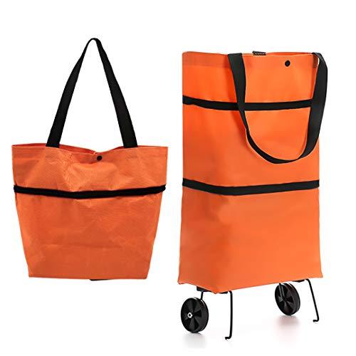 JJYHEHOT Carro De Compras Con Ruedas,ligero Y Portátil, Disfruta Comprando (naranja)