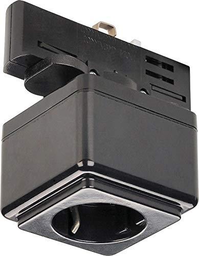 Stopcontact met adpater voor 3 fasen stroomrails zwart