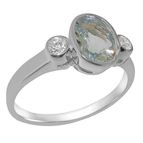 Luxus Damen Ring Solide 9 Karat (375) Weißgold mit Aquamarin und Diamant - Größe 57 (18.1) - Verfügbare Größen : 47 bis 68