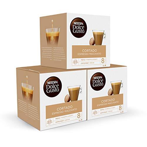 Nescafé Dolce Gusto Café Cortado Espresso Macchiato, Pack de 3 x 16 Cápsulas - Total: 48 Cápsulas de Café