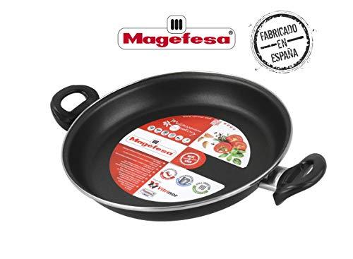 Desconocido Magefesa Black Paellera 30 cm de Acero esmaltado, Antiadherente bicapa Reforzado, Color Negro Exterior. Apta para Todo Tipo de cocinas, incluida inducción Vitrificado