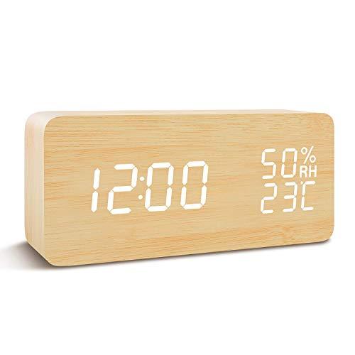 Tanouve Sveglia LED in Legno, Wood Cube Sveglia da Tavolo Digitale, 3 Set di Allarme, Doppia Alimentazione, Controllo Vocale, Visualizzazione di Ora/Settimana/Data/Temperatura/umidità