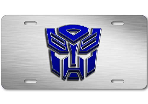 Voss Collectables Transformers Autobot Stone Logo Aluminum Car Truck License Plate Tag Steel Blue