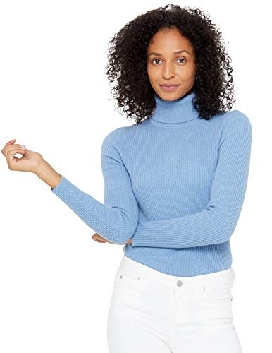 State Cashmere Ribbed Turtleneck Sweater 100% Pure Cashmere Long Sleeve Pullover for Women (Baby Blue, Small)