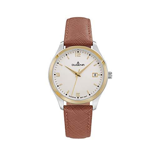 DUGENA Reloj de pulsera para mujer Tresor Woman, cuarzo, esfera bicolor, caja de acero inoxidable, cristal de zafiro, correa de piel, hebilla, 10 bar