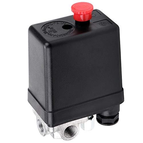 HSEAMALL AC 220 V 20 A 4 puertos compresor de aire interruptor de presión regulador piezas de repuesto para rápida reducción de presión 90-120 PSI