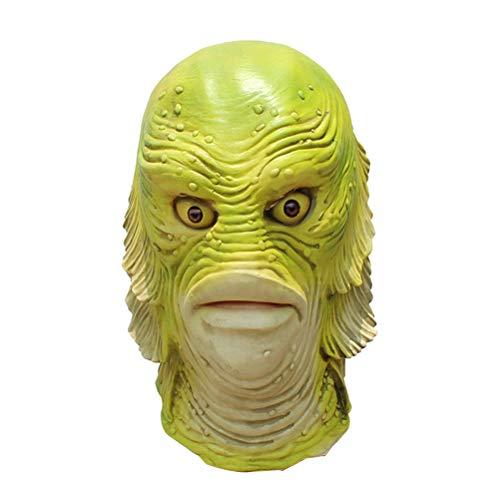 Amosfun Monster Fischkopf Maske Halloween Fisch Vollkopf Maske Party Kostüm Gesichtsmaske