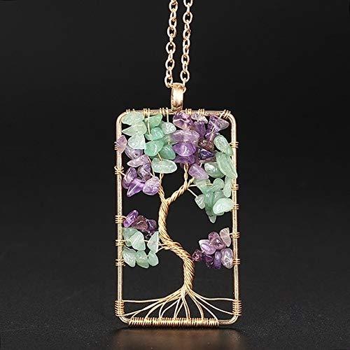 Suave 7 árbol de Chakra Natural de cristal/del arco iris piedra del cuarzo del collar colgante de vida de las mujeres Hombres Péndulo Reiki Chakra joyería natural (Metal color : P023)