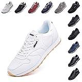 Zapatillas Hombre Mujer Casual Sneaker Gimnasio Cómodos Clásico Zapatos Deportivas Running Blanco 3 Talla 44