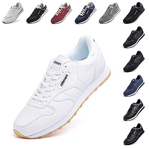 Zapatillas Hombre Mujer Casual Sneaker Gimnasio Cómodos Clásico Zapatos Deportivas Running Blanco 3 Talla 45