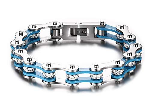 Aruie - Pulsera para hombre de acero con pedrería de imitación, cadena de bicicleta, moto, azul y plata, bicolor