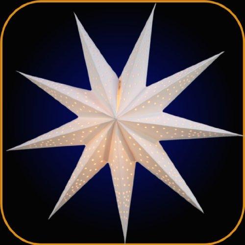 P.Lights decoratieve papieren ster lichtster baby anemon wit 0039M 9 stuks kerstster kerstdecoratie ster met kabel + schakelaar voor verlichting ster voor ramen