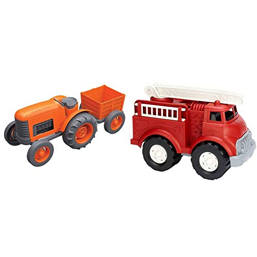 Green Toys Tractor Vehicle, Orange & Fire Truck - BPA Free, Phthalates Free Imaginative Play Toy for Improving Fine Motor, Gross Motor Skills. Toys for Kids