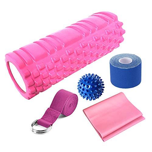 Lixada Rodillo de Yoga 5 PCS Kit Rodillo Bola Puntiaguda Correa de Estiramiento Banda de Resistencia Equipo para Yoga Pilates Fitness