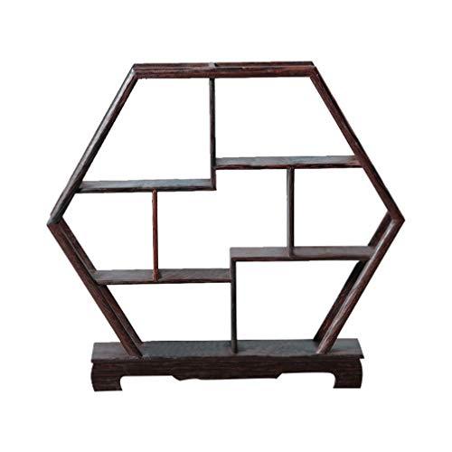 Healifty Armarios de Madera Chinos Exhibir Gabinetes de Curiosidades Estante de Palo de Rosa para La Decoración del Hogar sin Adornos (Forma Hexagonal)