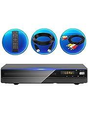 Jinhoo DVDプレーヤー1080Pサポート DVD/CDディスクプレーヤー 再生専用モデル 音楽再生 ブラック CPRM対応 リージョン フリーリモコン AVケーブル HDMIケーブル付き 録畫 番組 テレビ 地上デジタル放送 テレビ/プロジェクター接続可能
