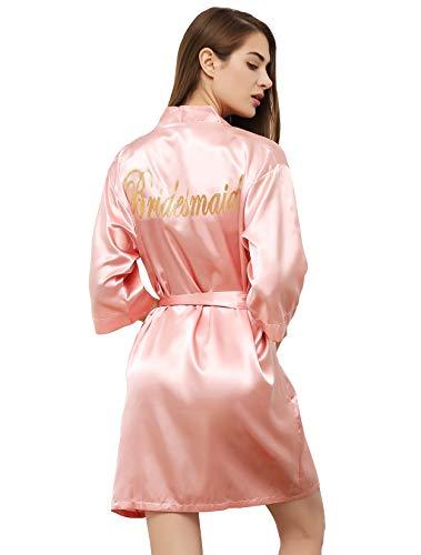 PROGULOVER Satin Kimono für Damen, Braut, Brautjungfer, Robe, Hochzeit, Party, mit goldfarbenem Glitzer - Pink - X-Large