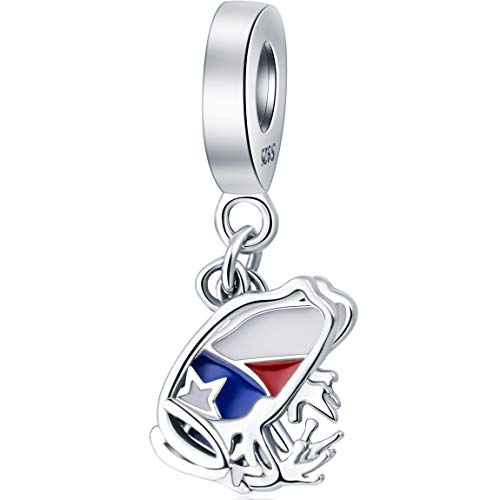 Choruslove Puerto Rico Coqui Frog Dangle Charm - 925 Sterling Silver Love Travel Charms Red Blue White Enamel Fits Bracelets Necklace