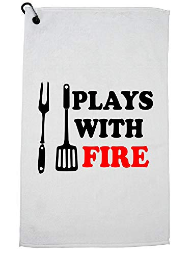 Hollywood draad spelen met vuur - BBQ Grilling Tool Graphic Golf handdoek met karabijnhaak Clip
