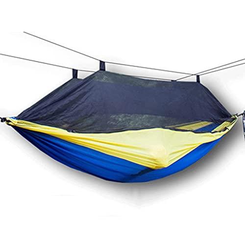 WSYGHP Hamaca de camping doble con alta estabilidad, hamaca portátil para colgar al aire libre, 200 kg de tela de paracaídas hamaca hamaca (color: azul, tamaño: 280 x 140 cm)