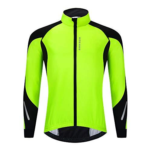 WOSAWE Chaqueta de Ciclismo de Forro Polar Térmico para Hombre Cortavientos de Motocicleta Cortavientos reflectante de Invierno para Moto, Bicicleta, Carreras (BL277 Verde XL)