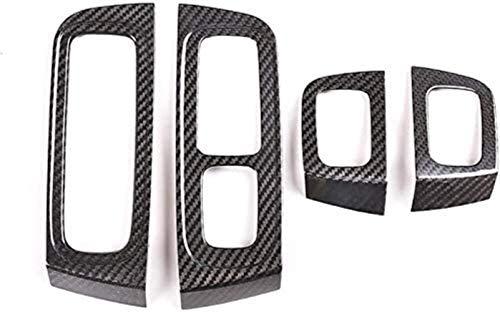 GWQNB Accesorios Interiores De Coche De Fibra De Carbono Real, Regulador De Ventana, Decoración, Marco, Cubierta, Embellecedor para Porsche Panamera 2017-2020