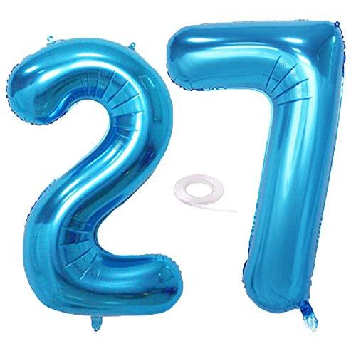 SNOWZAN - Globo de 27 cumpleaños decorativo, diseño de número 27