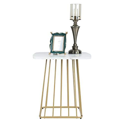 Moncot moderner Beistelltisch Couchtisch quadratischer Sofatisch mit Messing Metallgestell, Kaffeetisch Wohnzimmertisch Marmor weißer Tischplatte aus MDF für Wohnzimmer Schlafzimmer Büro