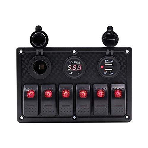 SHOUNAO 6 Panel de interruptores de rockero de pandillas Ajuste para RV Marine Boat Impermeable Voltímetro Digital Doble USB Puertos USB Dual 12V Outlet LED Rocker Switch Panel (Color : 6 Gang Red)