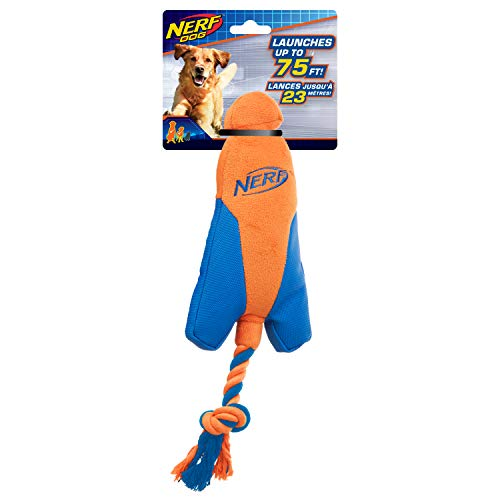 Nerf Dog Trackshot Arrowhead Launcher with Interactive Design, Great for Fetch, Launches up to 75 ft, Single Unit, Blue/Orange