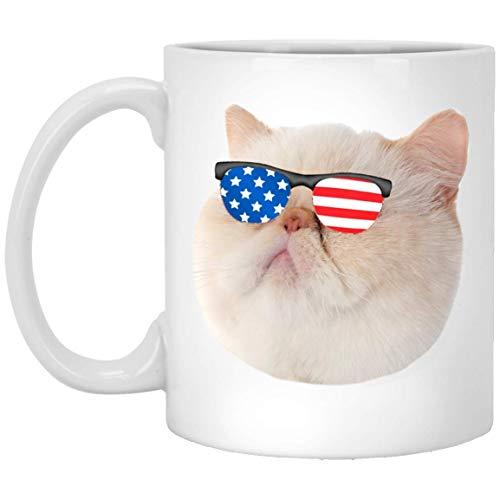 N\A Lustige exotische Kurzhaar-Katzencreme mit Sonnenbrille der amerikanischen Flagge weiße Kaffeetasse 11oz