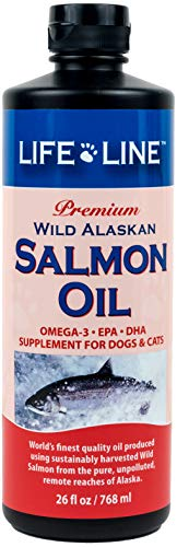 Life Line Pet Nutrition Wild Alaskan Salmon Oil Omega-3 Supplement for Skin & Coat – Supports Brain, Eye & Heart Health in Dogs & Cats, 26 oz