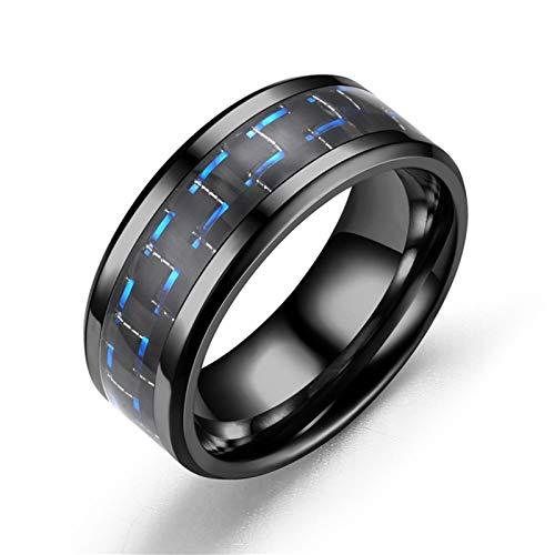 AueDsa Anelli Fibra di Carbonio Tondo Anelli Uomo Acciaio Inossidabile Nero Blu Taglia 15