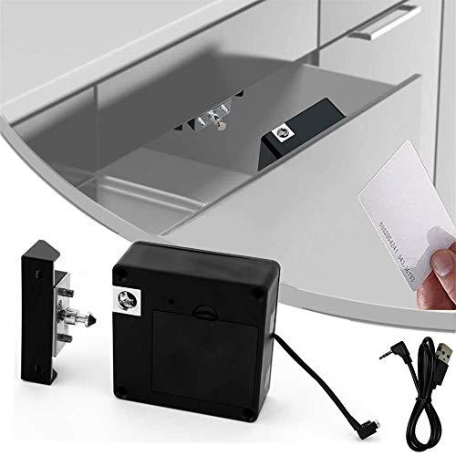 Homello RFID Elektronisches Schrankschloss, versteckt, DIY für Holzschublade Schrank Spind schwarz