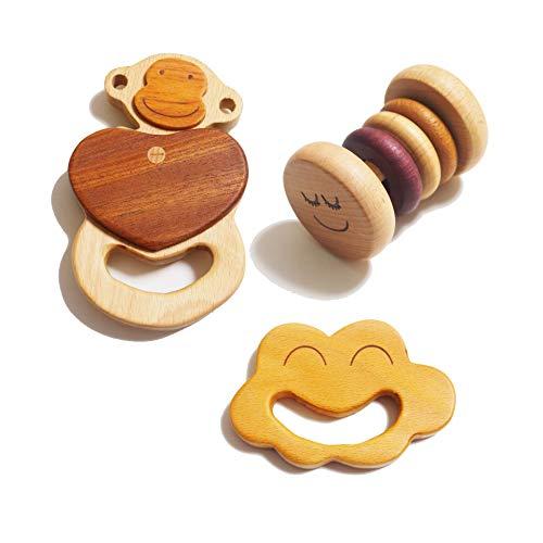 スプソリ 赤ちゃん はじめてのおもちゃセット 木製 音が鳴る ラトル 歯がため3個セット