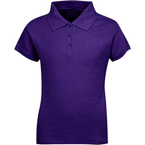 Premium Short Sleeves Girls Polo Shirts Purple L 14/16
