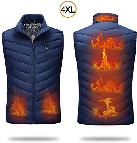 Elektrisch vest voor heren, koudebestendige verwarmingsset met USB-laadstation voor skiën buiten, wandelen, jagen, warm oplaadbaar vest blauw (4 x l).