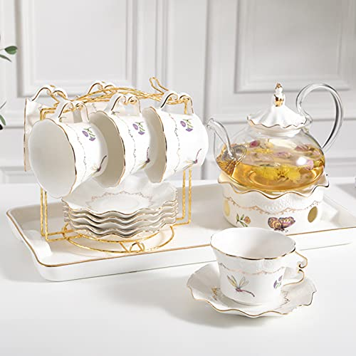 MERCB Tetera europea de té de la tarde taza de café resistente al calor de cristal de la flor de la tetera de la fruta del té de la taza de té 6 tazas 6 mariposas tetera