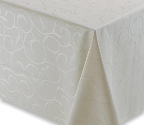 Wachstuch Tischdecke Gartentischdecke, Meterware abwischbar, geprägt Renk Blum Creme, Größe wählbar (200 x 140 cm)