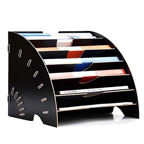 マガジンファイル 木製 デスクトレー 扇形 おしゃれ 本棚 A4サイズ 横置き 組立式 仕切り ファイルラック 机上収納 書類整理 オフィス用品 文房具 2カラー