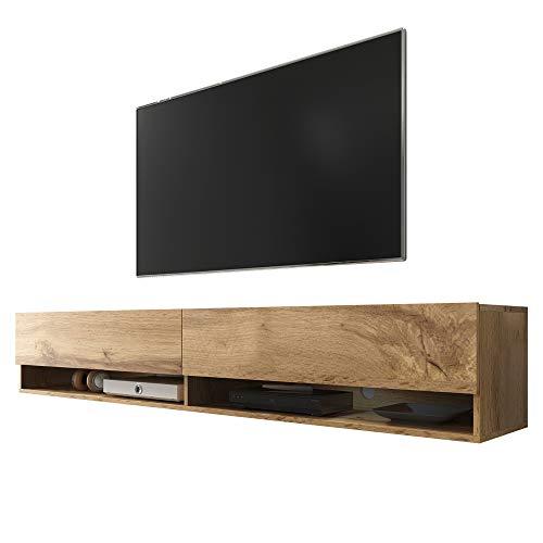 Selsey Wander - Mueble TV Suspendido/Mesa TV/Mueble para Salón (180 cm, sin LED, Roble Dorado)
