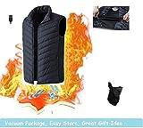 Decyam - Chaleco térmico eléctrico, impermeable, resistente al viento, carga por USB, para exteriores, equitación, esquí, pesca, color Elástico negro, tamaño small