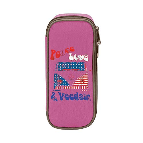 XCNGG Peace & Veedom Pen Bag Large Capacity Student Stationery Bag Pencil Case Dual Zippers