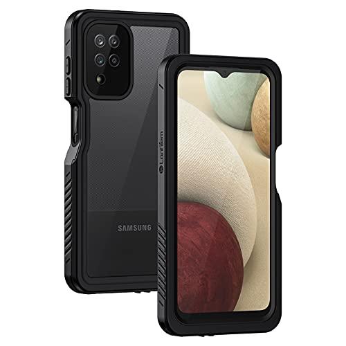 Lanhiem Funda Impermeable Samsung A12, Carcasa Resistente Al Agua IP68 Certificado [Protección de 360 Grados], Carcasa para Samsung Galaxy A12 Compatible con Sensor de Huellas Digitales, Negro