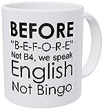 N\A Profesor de inglés, gramática, no Bingo, Antes Divertida Taza de café de 11 onzas inspiradora y motivadora