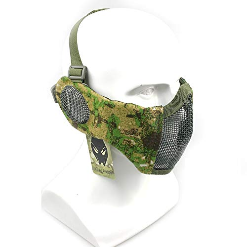 ATAIRSOFT Tactical Airsoft CS Schutzmaske aus Nylon mit halbem Gesichtsschutz und Ohrenschutz PG