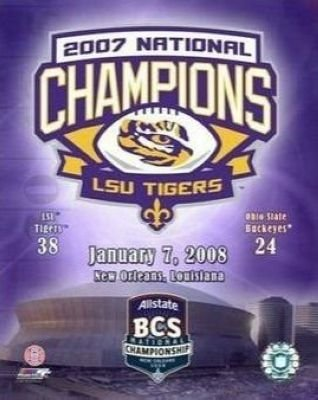 2007 BCS Champions Louisiana State University LSU Tigers NCAA 8x10 Photograph Collage