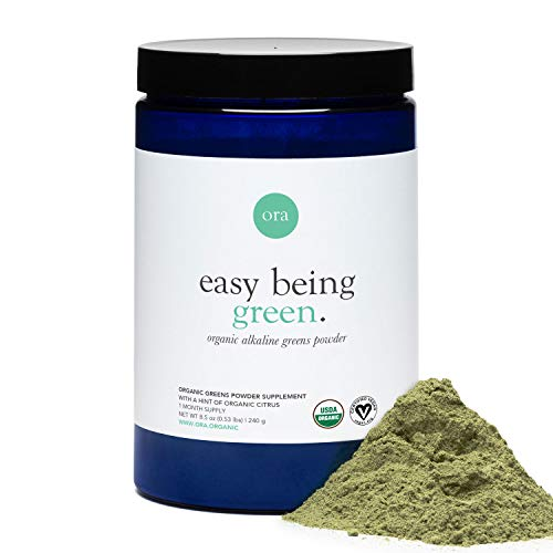 Ora Organic Greens Powder - Vegan, Gluten-Free, Organic Super Greens Drink for Energy and Detox | Antioxidants & Adaptogenic Herbs | 20+ Superfood Greens Blend - Citrus Flavor, 30 Servings